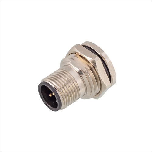 M12板后安装针型插座(F1)焊线式